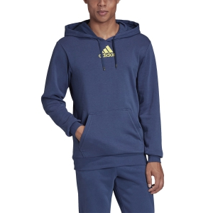 Men's Tennis Shirts and Hoodies Adidas Category Graphic Hoodie  Tech Indigo/Shock Yellow FM1190