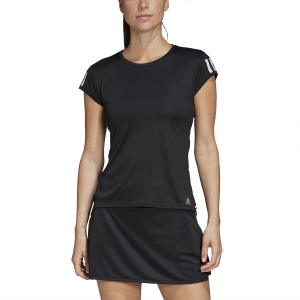 Women`s Tennis T-Shirts and Polos Adidas Club 3 Stripes TShirt  Black/Matte Silver/White FK6972