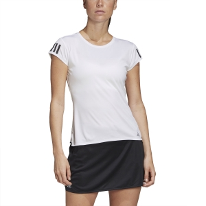 Women`s Tennis T-Shirts and Polos Adidas Club 3 Stripes TShirt  White/Matte Silver/Black FK6971