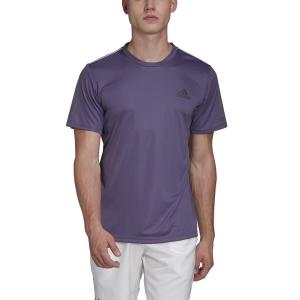 Men's Tennis Shirts Adidas Club 3 Stripes TShirt  Tech Purple/Grey Six FK6955