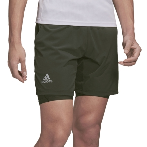 Men's Tennis Shorts Adidas Ergo 2 in 1 7in Shorts  Legend Earth/Grey Two FK0806