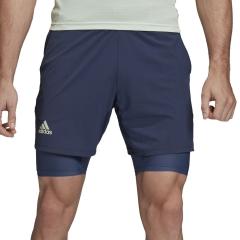 Adidas Ergo 2 in 1 7in Shorts - Tech Indigo/Dash Green