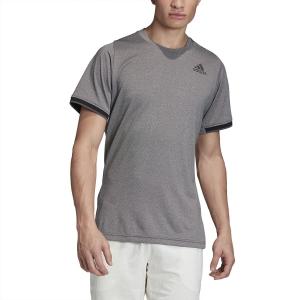Men's Tennis Shirts Adidas Gameset Freelift TShirt  Black Melange FP7967