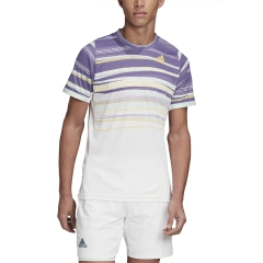 Adidas Freelift Print Maglietta - White/Shock Yellow