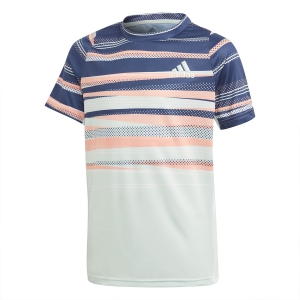 Tennis Polo and Shirts Adidas Freelift Print TShirt Boy  Tech Indigo/Dash Green/Chalk Coral S18 FS9251