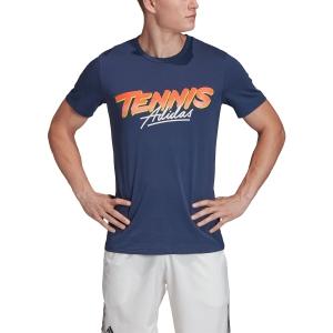 Camisetas de Tenis Hombre Adidas Script Graphic Camiseta  Tech Indigo FM4421