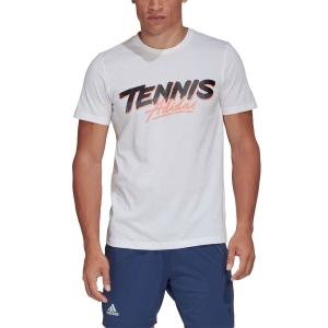 Camisetas de Tenis Hombre Adidas Script Graphic Camiseta  White FM4420