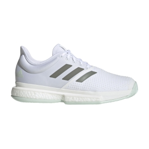 Men`s Tennis Shoes Adidas SoleCourt Boost  Ftwr White/Legacy Green/Green Tint EG1482
