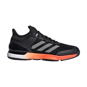 Men`s Tennis Shoes Adidas Adizero Ubersonic 2 Clay  Core Black/True Orange/Cloud White FV1458