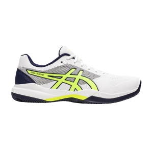 Calzado Tenis Hombre Asics Gel Game 7 Clay  White/Safety Yellow 1041A046106