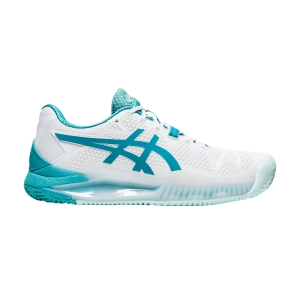 Women`s Tennis Shoes Asics Gel Resolution 8 Clay  White/Lagoon 1042A070106
