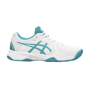 Calzado Tenis Niños Asics Gel Resolution 8 Clay GS Ninos  White/Lagoon 1044A019106