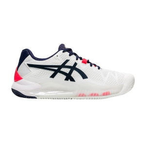 Women`s Tennis Shoes Asics Gel Resolution 8 Clay  White/Peacoat 1042A070103