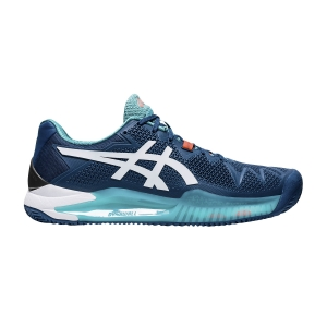Calzado Tenis Hombre Asics Gel Resolution 8 Clay  Mako Blue/White 1041A076401