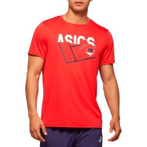 Men's Tennis Shirts Asics Graphic TShirt  Classic Red 2041A090600