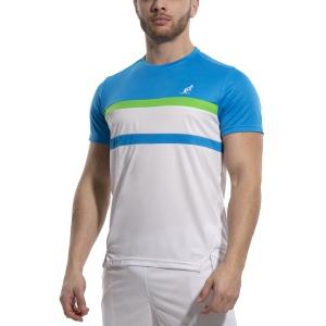 Maglietta Tennis Uomo Australian Ace Block Maglietta  Bianco/Turchese/Kawasaki 78574002