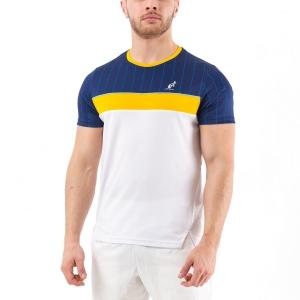 Camisetas de Tenis Hombre Australian Ace Pinstripes Camiseta  Bianco/Blu Cosmo 78520842