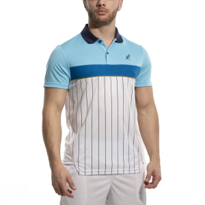 Men's Tennis Polo Australian Ace Pinstripes Polo  Bianco/Azzurro 78389490