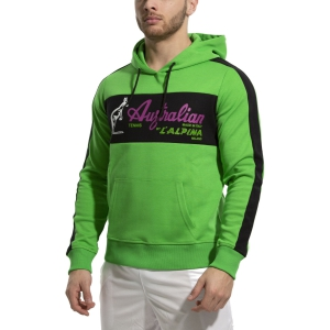 Maglie e Felpe Tennis Uomo Australian Interlock Felpa  Verde Kawasaki/Nero 88690316