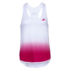 Women`s Tennis Tanks Babolat Compete Tank  White/Vivacious Red 2WS200711028
