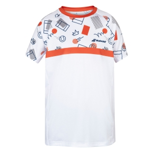Tennis Polo and Shirts Babolat Compete Crew TShirt Boy  White/Pureed Pumpkin 2BS200111035