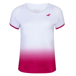 Women`s Tennis T-Shirts and Polos Babolat Compete TShirt  White/Vivacious Red 2WS200311028