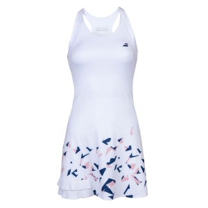 Tennis Dress Babolat Compete Dress  White/Estate Blue 2WS200911005