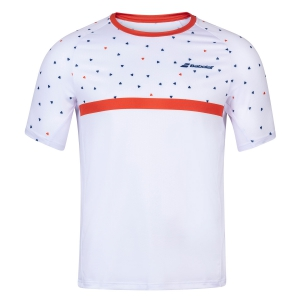 Men's Tennis Shirts Babolat Crew TShirt  White/Pureed Pumpkin 2MS200111035