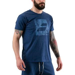 Men's Tennis Shirts Babolat Exercise Big Flag TShirt  Estate Blue Heather 4MS204424005