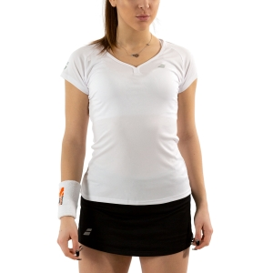 Women`s Tennis T-Shirts and Polos Babolat Play Cap TShirt  White 3WP10111000