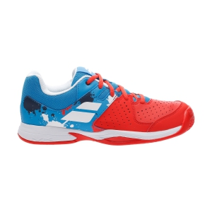 Junior Tennis Shoes Babolat Pulsion Clay Junior  Tomato Red/Blue Aster 33S207315039