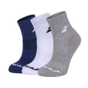 Calcetines de Tenis Babolat Quarter x 3 Calcetines  White/Estate Blue/Grey 5UA14011033