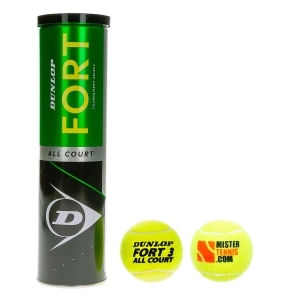 Dunlop Tennis Balls Dunlop Fort All Court Mister Tennis Logo  4 Ball Can 601316L