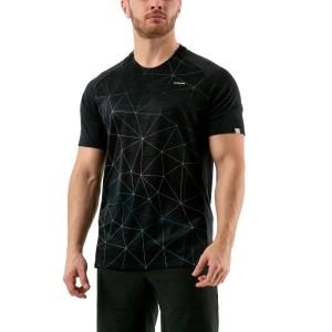 Camisetas de Tenis Hombre Head Performance Camiseta  Triangle Print/Black 811040 XA