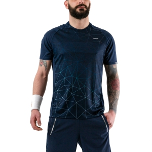Camisetas de Tenis Hombre Head Performance Camiseta  Triangle Print/Dark Blue 811040 XC