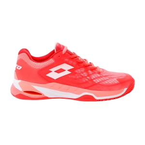 Calzado Tenis Mujer Lotto Mirage 100 Clay  Red Fluo/All White/Vivid Rose 2107385Z3