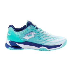 Women`s Tennis Shoes Lotto Mirage 100 Speed  All White/Sodalite Blue/Green Cabbage 2107395Z2