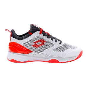 Men`s Tennis Shoes Lotto Mirage 200 Clay  All White/Red/Poppy Asphalt 2136266O5