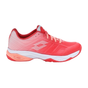 Women`s Tennis Shoes Lotto Mirage 300 II Clay  Red Fluo/All White/Sweet Rose 2136355YG