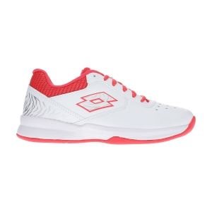 Women`s Tennis Shoes Lotto Space 600 II All Round  All White/Red Fluo/Silver Metal 2136375Y3