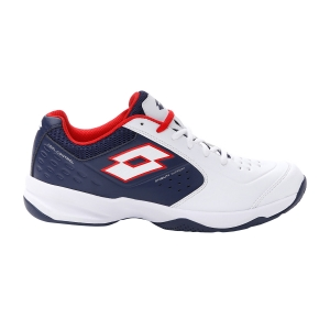 Men`s Tennis Shoes Lotto Space 600 II All Round  All White/Navy Blue/Red Poppy 2136305XZ
