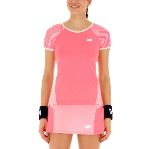 Women`s Tennis T-Shirts and Polos Lotto Top Ten II Print TShirt  Vivid Rose/Sweet Rose 2128335PE
