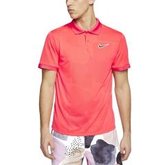 Nike Court Breathe Advantage Polo - Laser Crimson/Off Noir