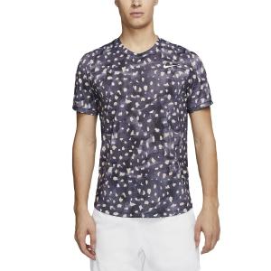 Men's Tennis Shirts Nike Court Challenger Print TShirt  Gridiron/White CK4774015