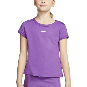 Top and Shirts Girl Nike Court DriFIT TShirt Girl  Purple Nebula/White CQ5386532