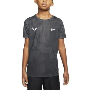 Tennis Polo and Shirts Nike Court DriFIT Rafa TShirt Boy  White/Black/Anthracite CD2165103