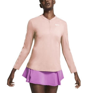 Women's Tennis Shirts and Hoodies Nike Court Dry 1/2 Zip Shirt  Washed Coral/White 939322664