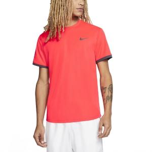 Men's Tennis Shirts Nike Court Dry TShirt  Laser Crimson/Gridiron 939134644