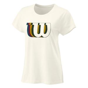 Women`s Tennis T-Shirts and Polos Wilson Blur Tech Tee TShirt  Ivory WRA781203