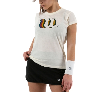 Women`s Tennis T-Shirts and Polos Wilson Blur Tech Tee TShirt  Ivory WRA781203